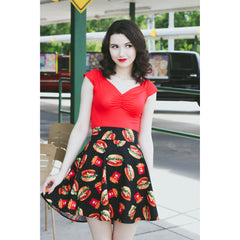 Retrolicious Burgers & Fries Skater Skirt Black Food Retro Rockabilly Vintage