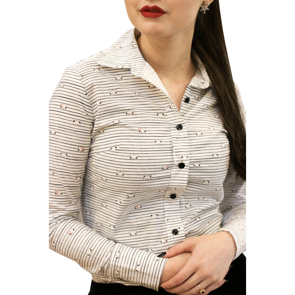 Women's Retrolicious Curious Cat Shirt Striped Button Up Cat Lover