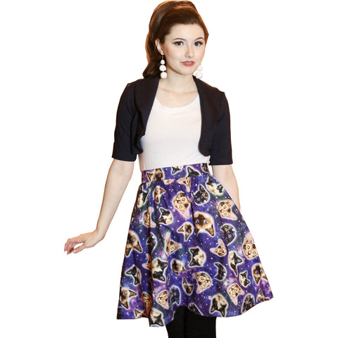 Retrolicious Galaxy Cats A-line Skirt Space Cat Lover