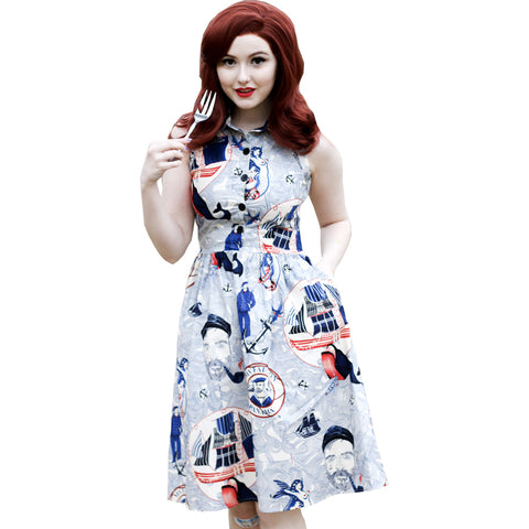 Retrolicious Lost At Sea Dress Blue Nautical Sailor Anchor Retro Rockabilly