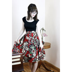 Retrolicious Madison Skirt In Frida Red