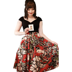 Retrolicious Madison Skirt In Frida Red Mexican Latina Retro Vintage Rockabilly