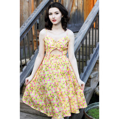 Retrolicious Sweet & Sour Dress Yellow/Pink Lemons Retro Rockabilly Vintage