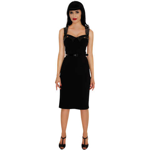 Retrolicious The Vamp Wiggle Dress Black Retro Rockabilly Gothabilly Vintage