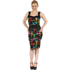 Women's Rock Rebel Monster Pattern Dress Horror Frankenstein Bride Dracula Mummy