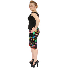 Women's Rock Rebel Monster Pattern Skirt Horror Frankenstein Bride Dracula Mummy