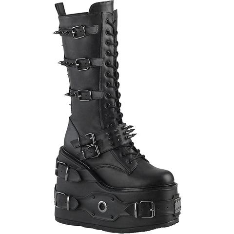 Women's Demonia SWING-327 Platform Mid-Calf Boot Black Goth Nu Goth Punk Spikes