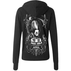 Women's Se7en Deadly Dead Girls Are Skinnier Zip Hoodie Skeleton Coffin Goth