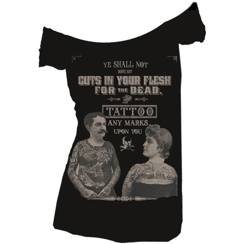 Women's Se7en Deadly Tattoos For The Dead Off Shoulder Top Vintage Tattoo