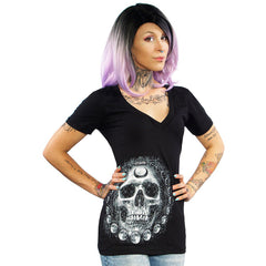 Women's Skygraphx Lone Wolf V-Neck T-Shirt Black Skull Punk