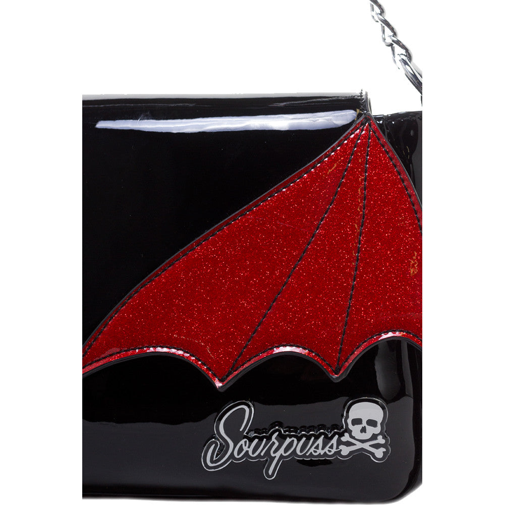 Sourpuss Bat Wing Clutch Purse Black/Red Goth Psychobilly