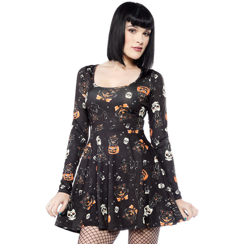 Sourpuss Black Cats Skater Dress Black Psychobilly Gothabilly Halloween