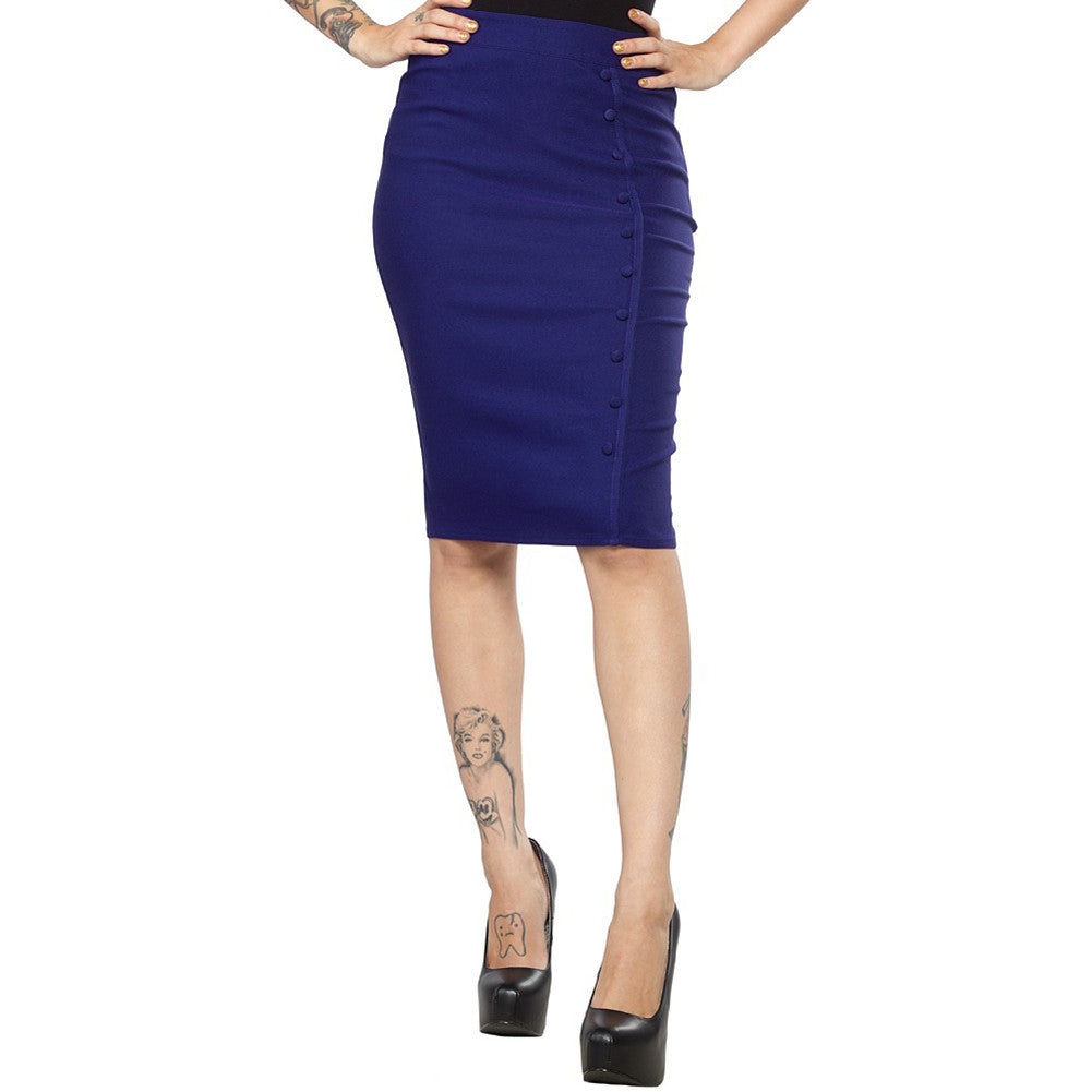 Women's Sourpuss Bombshell Pencil Skirt Blue Retro Vintage Rockabilly Pin Up