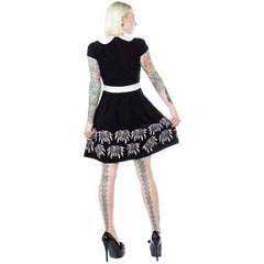Sourpuss Creepy Crawlies Lizzie Dress Black/White Spiders Wednesday Gothabilly