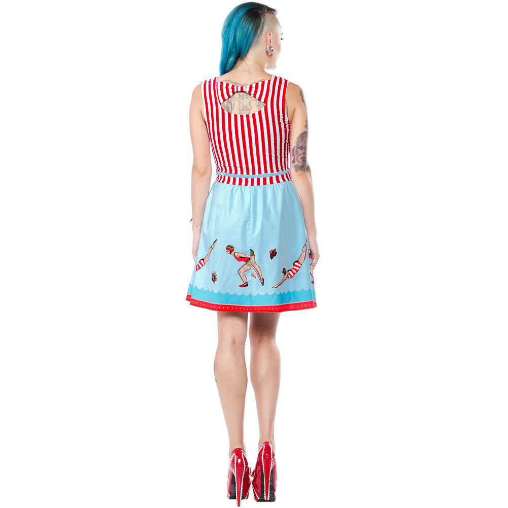 Sourpuss Day At The Shore Dress Blue/Red Retro Rockabilly Tattooed Ladies