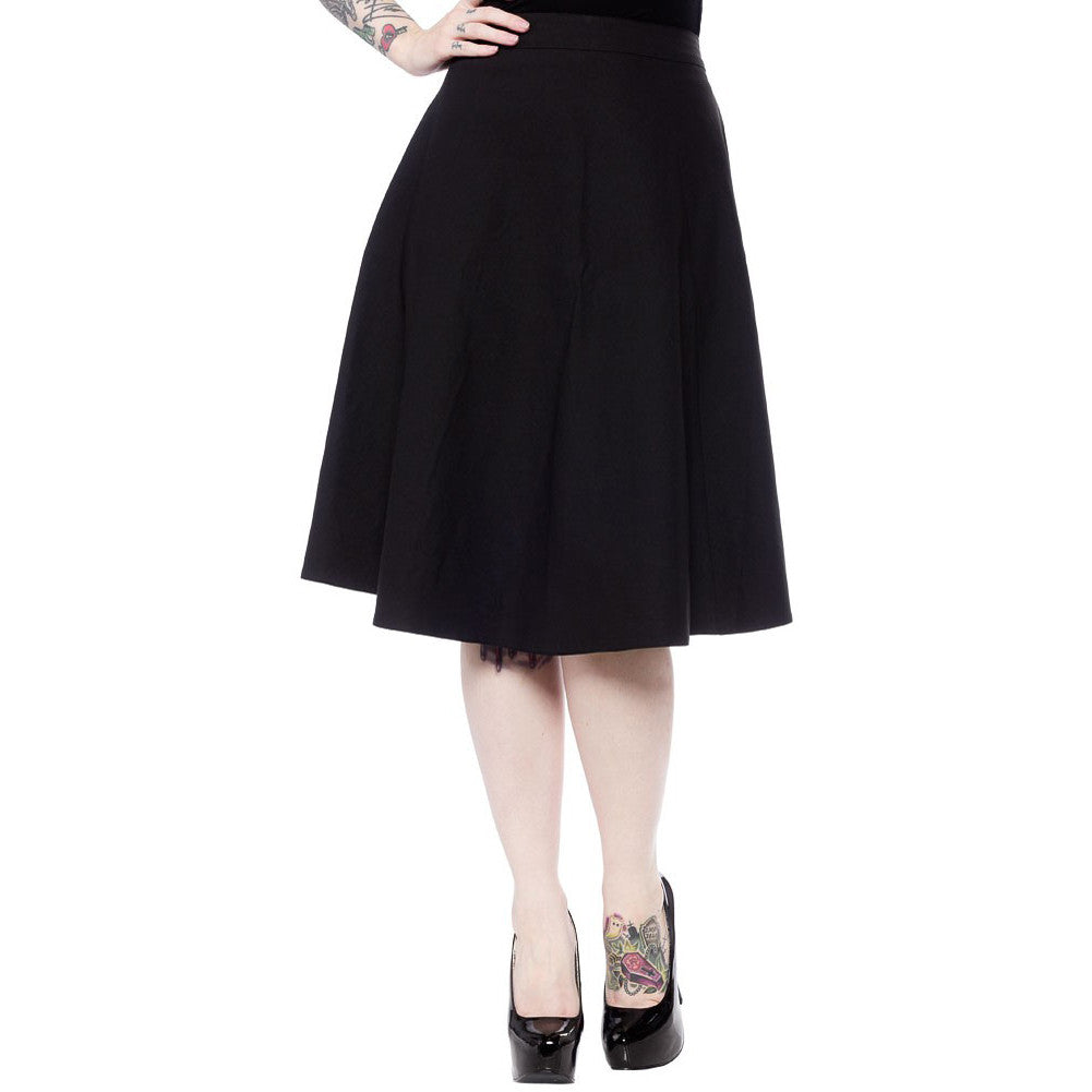 Sourpuss Donna Skirt Black Retro Vintage Rockabilly Pin Up