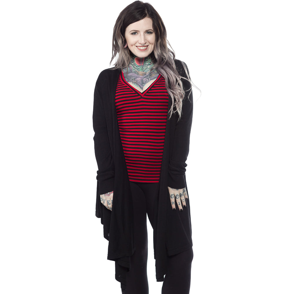 Women's Sourpuss Draped Cardigan Black Goth
