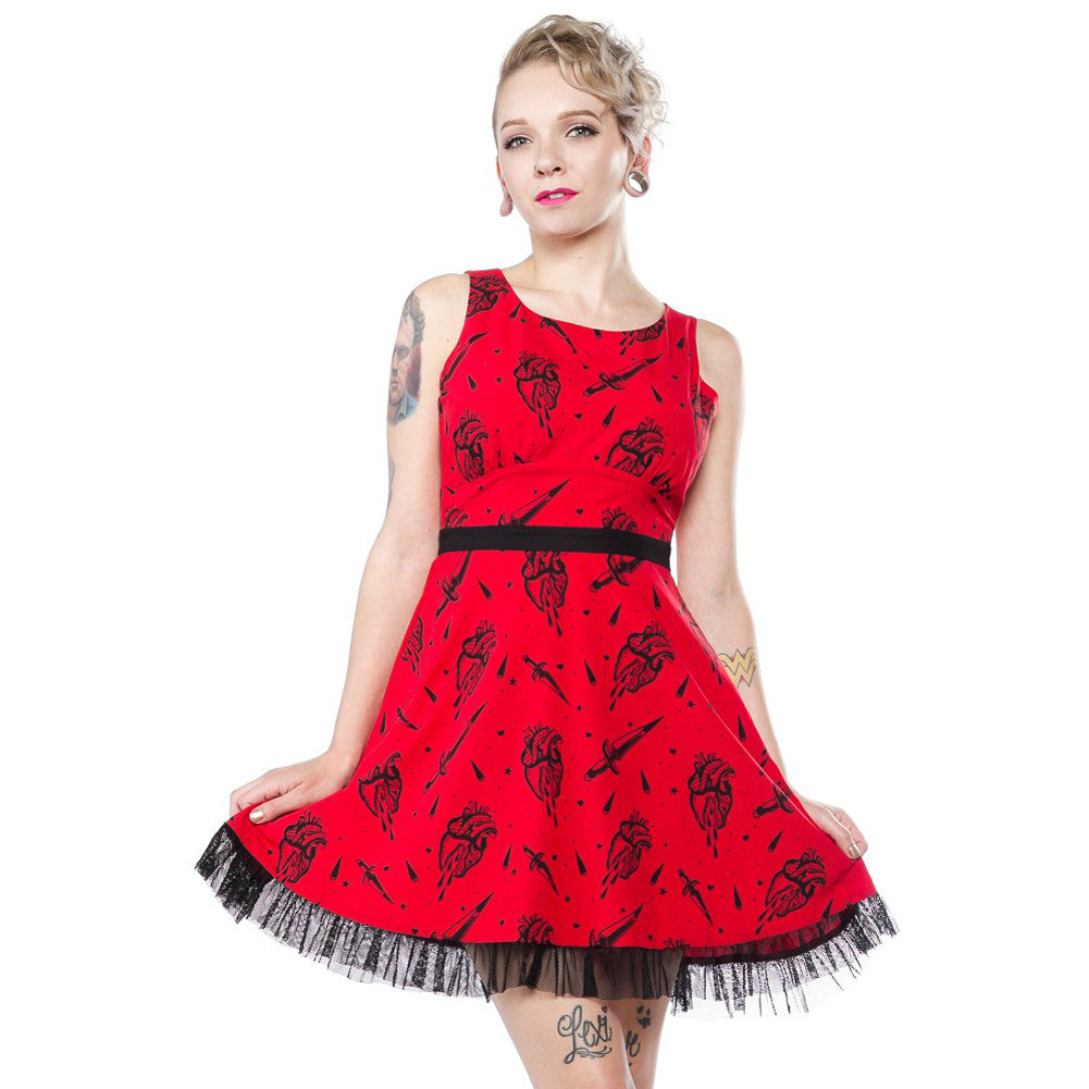 Sourpuss Fatally Yours Dress Red Retro Rockabilly Daggers Anatomical Hearts