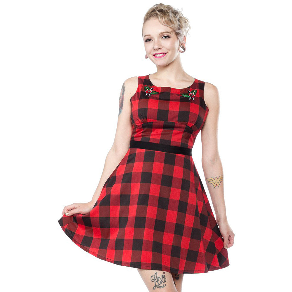 Sourpuss Flower Buffalo Plaid Dress Red/Black Retro Vintage Rockabilly Pin Up