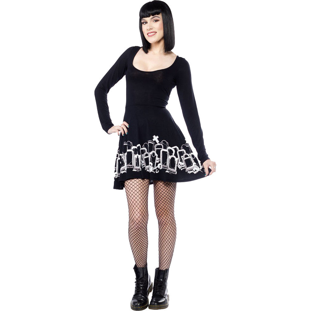 Sourpuss Gravedigger Skater Dress Black Tombstones Goth Psychobilly