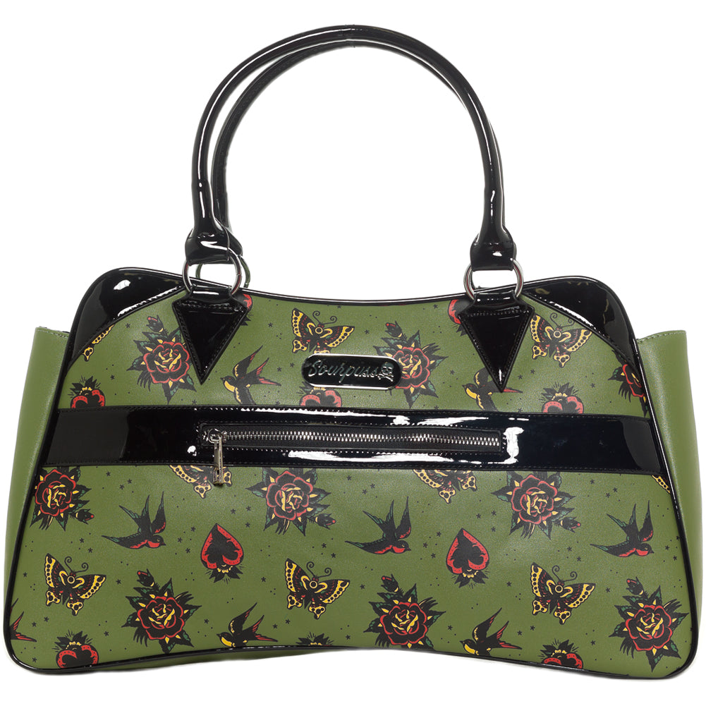 Sourpuss Hearts & Roses Camille Purse Green Tattoo Flash Rockabilly Retro