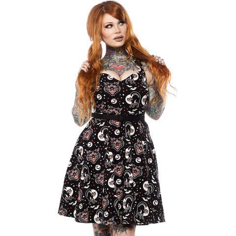 Sourpuss Lucy Fur Floozy Dress Black Rockabilly Gothabilly Halloween Cats Bats