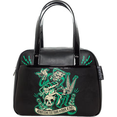 Sourpuss Monster Tattoo Bowler Purse Black Frankenstein and Bride Psychobilly