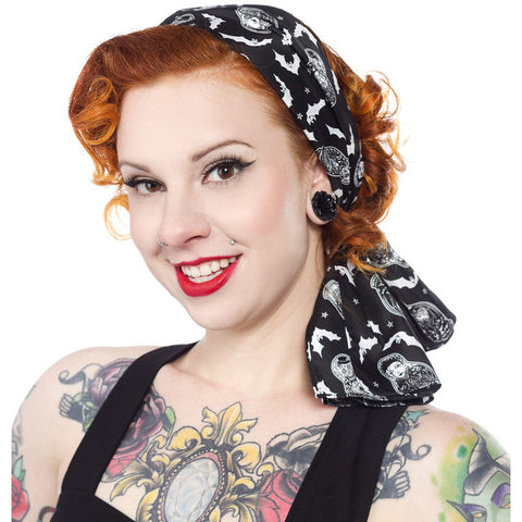Sourpuss Nesting Dolls Bad Girl Scarf Black Bats Skulls Psychobilly