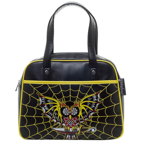 Sourpuss Night Owl Bowler Purse Black Spiderweb Goth Punk Psychobilly