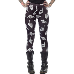 Womens Sourpuss No Bones About It Leggings Skeleton Hand Middle Finger Goth Punk