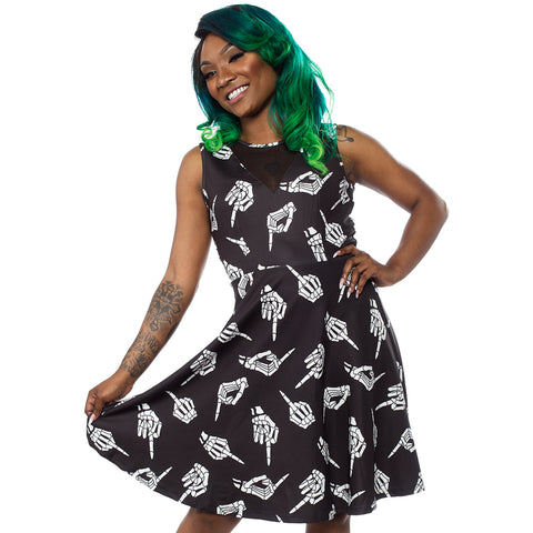Sourpuss No Bones About It Mesh V Neck Dress Black/White Skeleton Middle Finger
