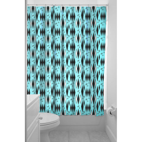 Sourpuss Retro Diamonds Shower Curtain Turquoise Rockabilly Vintage Inspired