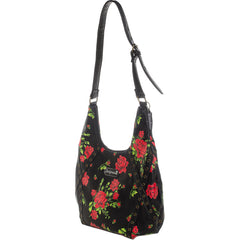 Sourpuss Rose Garden Hobo Purse Black/Red Floral Flowers