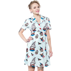 Sourpuss Sailor Rosie Dress Blue Retro Rockabilly Nautical Tattoo Flash