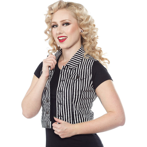 Women's Sourpuss Sourpuss Striped Essential Vest Black/White Punk