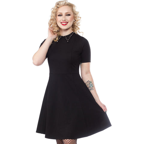 Sourpuss Sourpuss Studded Dress Black Rockabilly Punkabilly Goth Gothabilly