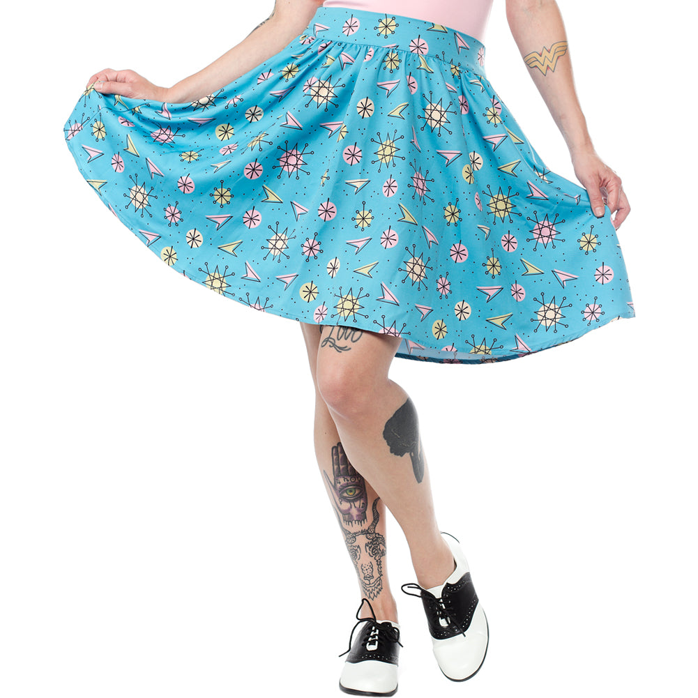 Sourpuss Sputnik Swing Skirt Blue Retro Atomic Star Bursts Rockabilly