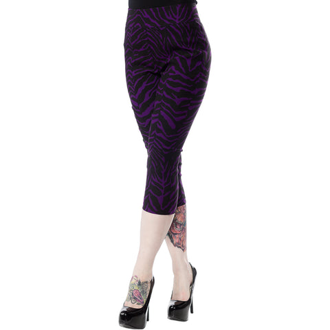 Women's Sourpuss Zebra Sugar Pie Capris Purple Rockabilly Psychobilly