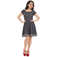 Women's Steady Clothing Beatrice Dress Indigo Retro Rockabilly Anchor Nautical