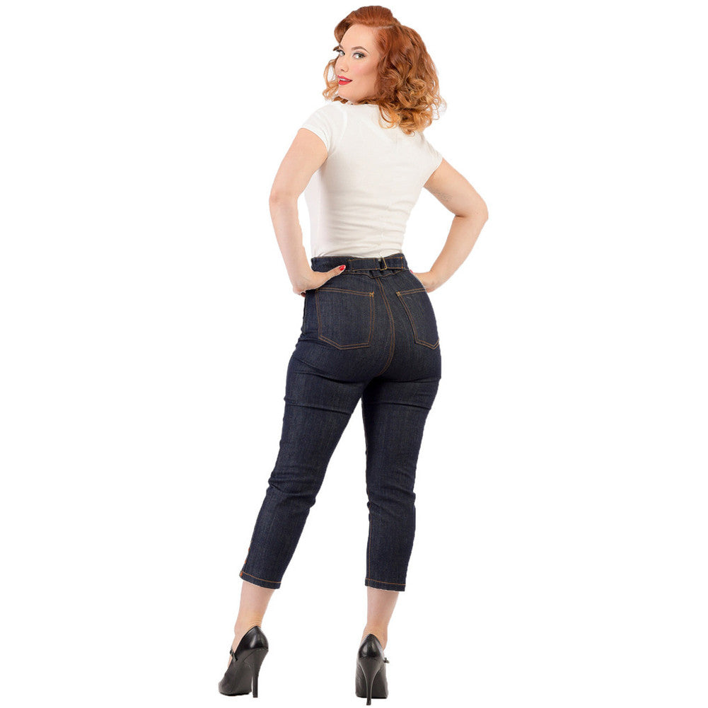 Womens Steady Clothing Cinched Capri Pants Indigo Vintage Rockabilly Pinup Retro