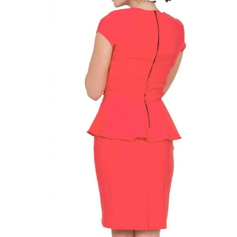 Women's Steady Clothing Emma Dress Coral Retro Vintage Inspired Rockabilly Pinup
