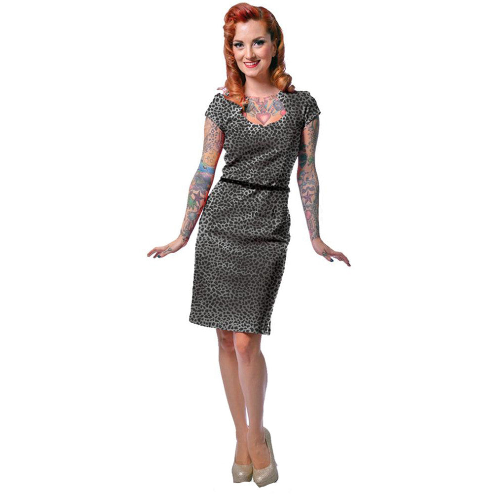 Women's Steady Clothing Leopard Sophia Dress Retro Vintage Rockabilly Pin Up