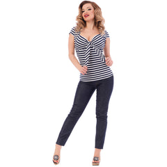 Women's Steady Clothing Striped Sweatheart Tie Top Navy/White Vintage Rockabilly