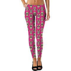 Sugar Skulls Pattern Leggings Pink