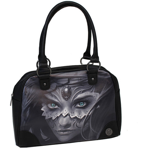 Women's Sullen Athena Bowler Bag Black Girl Masquerade Mask Tattoo Art