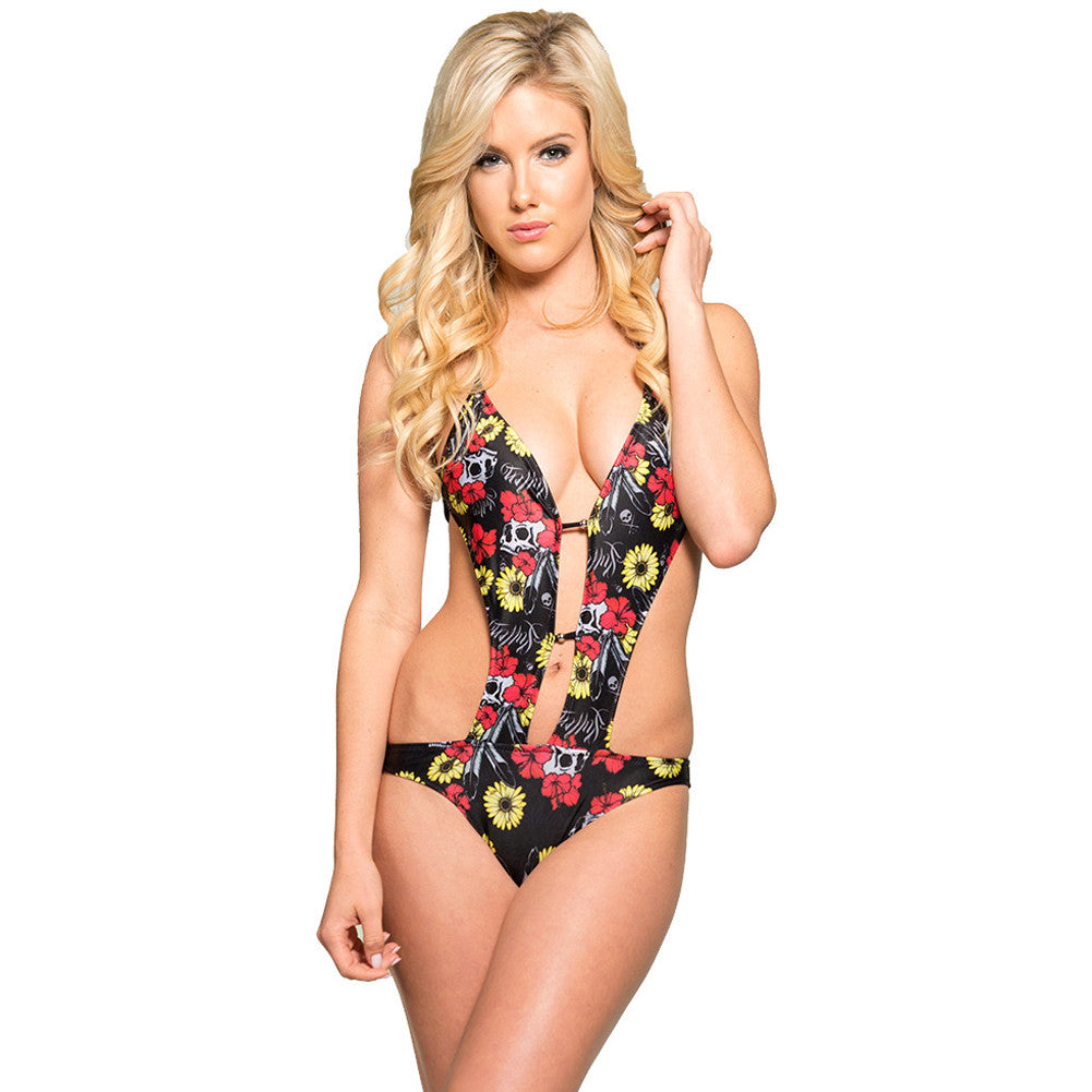Women's Sullen Flower Field Skull Monokini Tattoo Art Lifestyle