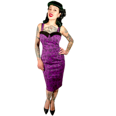 Switchblade Stiletto Pentagram Dagger Dress Purple Rockabilly Psychobilly Occult