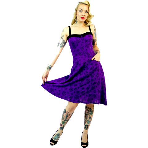 Switchblade Stiletto Pentagram Swing Dress Purple Occult Witch Psychobilly