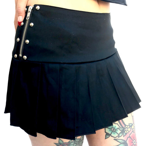 Switchblade Stiletto Studded Pleated School Skirt Black Punk  Grunge