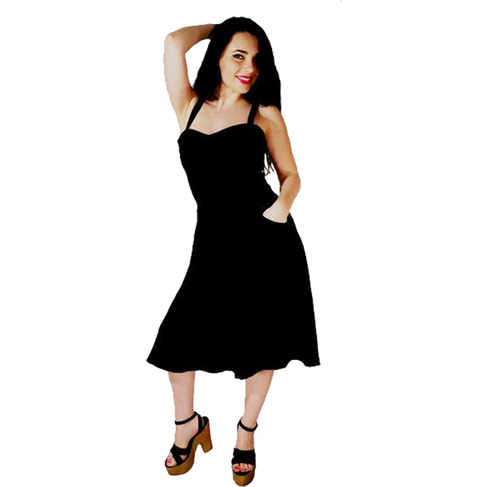 Switchblade Stiletto Swing Dress Black Rockabilly Pin Up